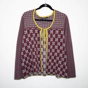 Gudrun Sjoden Burgundy Floral Tie Front Cardigan